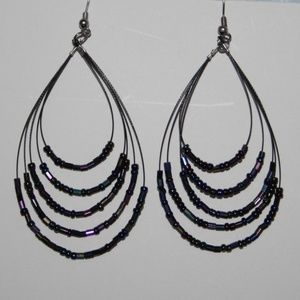 Metallic hoop dangle earrings